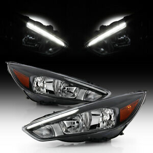 2015 2016 2017 2018 Ford Focus Halogen W led Drl Headlights Headlamps Left right