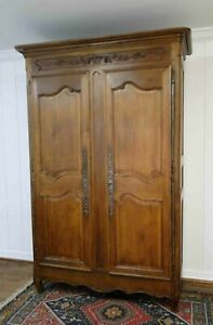 Antique French Wedding Wardrobe Armoire Recessed Panels Carving Shelves Keyed