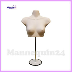 Female Torso Mannequin Stand Hanger Flesh Women Chest Dress Form