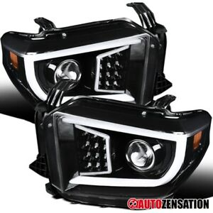 For 2014 2020 Toyota Tundra Slick Black Projector Headlights W Led Drl Bar Tube