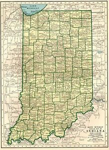 1945 Antique Indiana State Map Vintage Map Of Indiana Gallery Wall Art 7550
