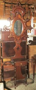 Old Antique Walnut Hall Tree W Drawer Oval Beveled Mirror Double Hooks