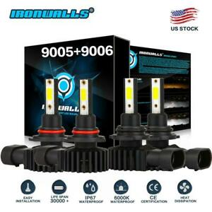 4x 9005 9006 Led Headlight Bulb Combo High Low Conversion Kit 6000k Super Bright