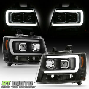 New Black 2007 2014 Chevy Suburban Tahoe Avalanche Led Drl Projector Headlights