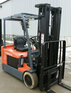 Toyota 7fbeu20 2007 4000 Lbs Capacity Great 3 Wheel Electric Forklift