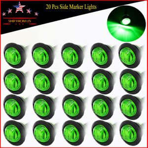20x Green 3 4 Clearance Led Side Marker Bullet Lights For Truck Boat Trailer Rv