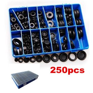 250x Black Rubber Grommet Firewall Wire Gasket Solid Hole Plug Assortment Set