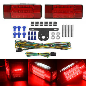 New Rectangle Led Submersible Red Trailer Boat Stud Stop Turn Tail Lights Kit Us