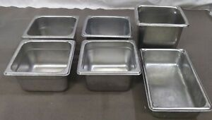 Lot Of 6 Stainless Steel Food Salad Bar Buffet Steam Table Insert Pans Container