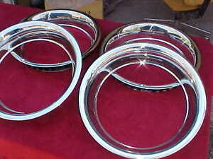 15x3 Beauty Bands Trim Rings Show Chromed Stainless Corvette Rally Scbb 1