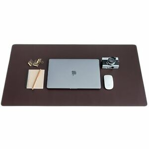 Zbrands Brown Leather Desk Mat Pad Blotter Protector Extended Non slip Mouse