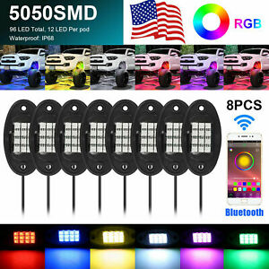 8 Pods Rgb Led Rock Lights Offroad Music Wireless Bluetooth App Control Atv