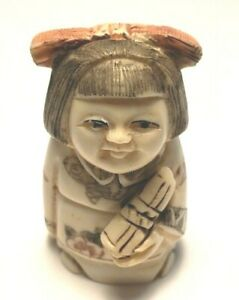 Woman W Pink Bow And Scroll 2 Inch Netsuke Stunning Hand Carved 1536