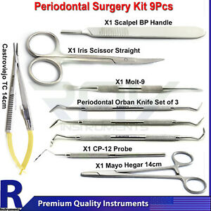 Dental Surgical Periodontal Perio Surgery Kits Molt 9 Tissue Scissor Scalers Set