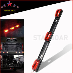 15 Sealed 3 Light 9led Clearance Light Bar Red Truck Trailer Id Lights