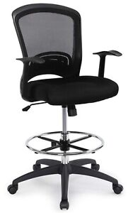 Ergonomic Mid back Mesh Adjustable Drafting Chair With Foot Ring Standing desk