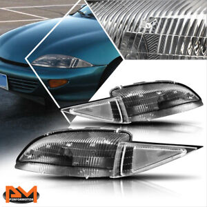 For 95 99 Chevy Cavalier Direct Replacement Headlight lamp Clear Corner Black