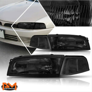 For 97 01 Mitsubishi Mirage 4 dr Headlight lamp Replacement Clear Corner Smoked