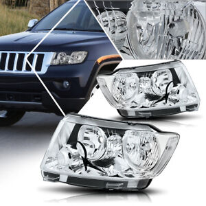 For 11 13 Jeep Grand Cherokee Headlight lamps Replacement Clear Corner Chrome