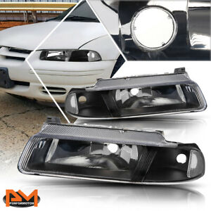 For 95 00 Chrysler Cirrus Dodge Stratus Headlight Lamp Black Housing Clear Side