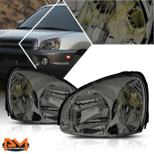 For 03 06 Hyundai Santa Fe Headlight Lamps Replacement Smoked Housing Clear Side