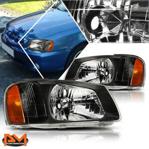 For 00 02 Hyundai Accent Black Housing Amber Corner Headlight Replacement Pair