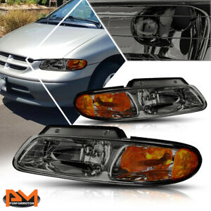 For 96 00 Chrysler Town Country Voyager Headlight Lamp Smoked Housing Amber Side