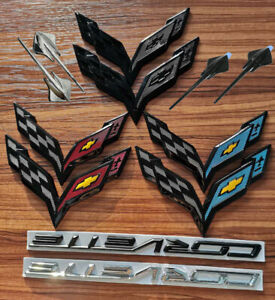 14 19 C7 Corvette Gm Carbon Flash Emblem Badge Front Rear Crossed Flags Stingray