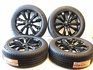 19 Chrysler 300 Awd Gloss Black Wheels And Tires Factory Oem Set 2538