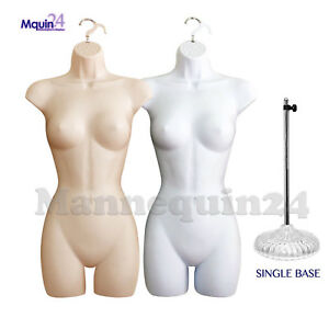 2 Female Mannequin Torsos Set Flesh White Body Forms 2 Hangers 1 Stand