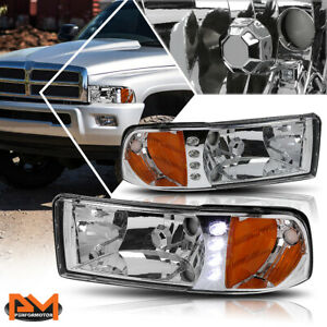 For 94 02 Dodge Ram 1500 3500 Led Drl Headlight lamp Chrome Housing Amber Corner