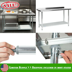 Commercial 24 X 60 Stainless Steel Work Table With Undershelf 2 Rear Upturn