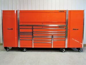Snap On Orange 84 Epiq Tool Box Stainless Top Hutch 2 X Side Lockers Ecko Lock