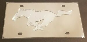 Ford Mustang Horse Acrylic Logo On Solid Stainless Steel License Plate Tag