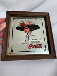 Vintage Coca-Cola Mirror Bar Sign Framed Picture Hamilton Girl