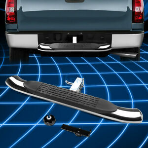 Universal 2 Receiver Brake Light Trailer Tow Towing Hitch Rear Step Bar Chrome
