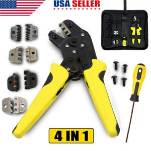 4 In1 Crimping Tool Wire Ratcheting Crimper Plier End Terminal For Electricity