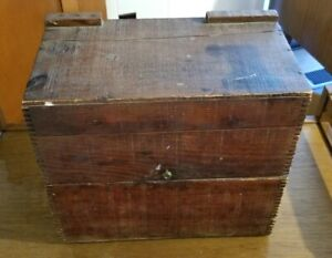Antique Vintage Wooden Jell O Primitive Dovetail Crate Tackle Sewing Box
