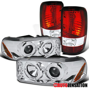 For 2000 2006 Gmc Yukon Clear Led Halo Projector Headlights red clear Tail Lamps