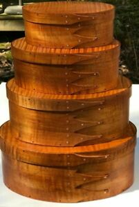 Maple And Tiger Maple Shaker Oval Boxes Stack Of 4 Sizes 2 5