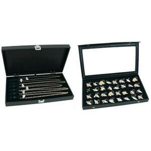 Jewelry Cases W Two Velvet Necklace Displays 32 Slot Tray Insert Kit 5 Pcs