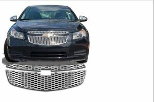 Grille Insert Overlay Honeycomb Style 2pc Chrome Pl Fits Chevy Cruze 2011 2014