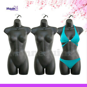 Iblack Mannequin Female Torsos Lot Of 3 Women Plastic Dress Forms With Hangers
