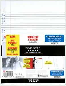 Five Star College Ruled Reinforced Filler Paper 100 Sheets 10 5 X 8 17010