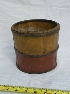 Antique Bucket W Wrought Iron Bound Early Red Yellow Paint Ochre Aafa American