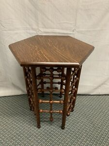 Antique Small Quartered Oak Plant Stand Side Table Stick And Ball