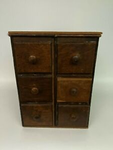 Antique 6 Drawer Spice Cabinet Box Cupboard Chest Primitive Apothecary Shaker