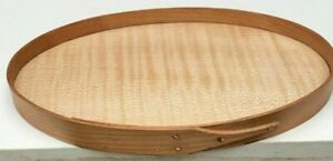 Cherry And Tiger Maple Shaker Oval Bureau Tray Size 4