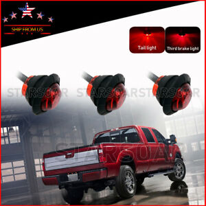 3x Red Bullet 3 4 Led Truck Trailer Auxiliary Rear Stop Turn Tail Brake Lights