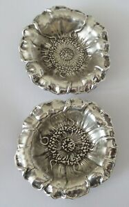 Two Rare Antique Pair Of Gorham Sterling Poppy Salt Cellars Or Nut Dishes 866